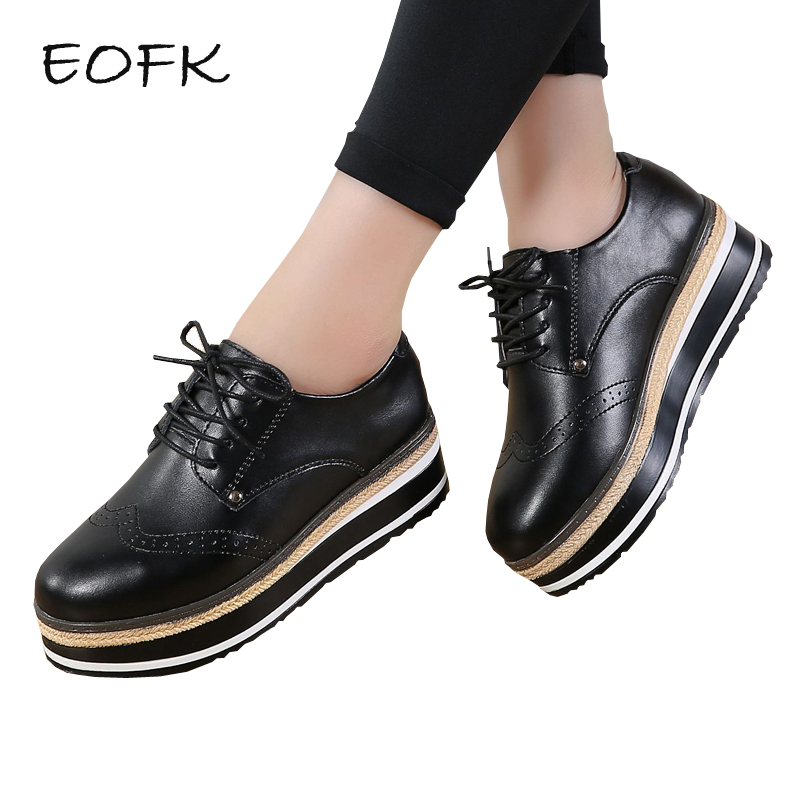 EOFK Women Brogue Shoes Woman Women s Leather Shoes Flat Platform Spring Autumn Fashion Thick Bottom