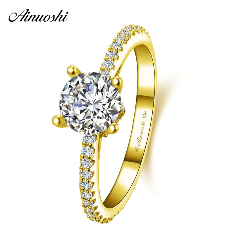Fine Jewelry Rings Hard-Working Ainuoshi 10k Solid Yellow Gold Round Ring 4 Prongs 1ct Round Cut Sona Diamond Ring Female Wedding Engagement Jewelry Bridal Band Volume Large