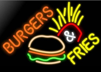 Burger Fries Glass Neon Light Sign Beer Bar