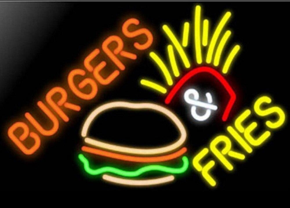 Burger Fries Glass Neon Light Sign Beer Bar