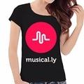 Logotipo de la marca Musical. ly Mujeres Camiseta 2017 Nueva Llegada Del Envío Libre Corto Boradcloth Letra de La Manera Impresión Del O-cuello Tops Camisetas