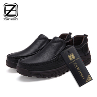 ZXWFOBEY Brand Men's Genuine Leather Shoes Business Dress Moccasins Flats Slip On New Men's Casual Shoes Dress Mens Shoes