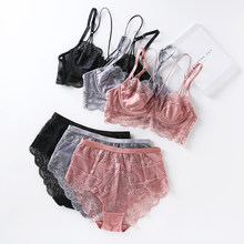 e0e760fafd Lace ultrathin brassiere and waist-high panties push up beauty back pack  women sexy underwear lingerie bra set transparent