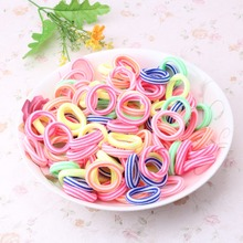 1 pack=80 pcs Newly Style Good Elastic Children  Hair Band Kids Dress Scrunchy Colorful Random Baby Accessories