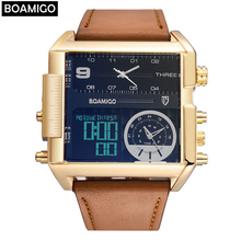 цены на BOAMIGO brand men sports watches 3 time zone big man fashion watch leather quartz wristwatches relogio masculino montre homme в интернет-магазинах