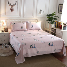 Pink Color Bedding Sheet 3 pcs King Size Bed Set for Queen Sheets Cartoon Printed Flat with Pillowcase