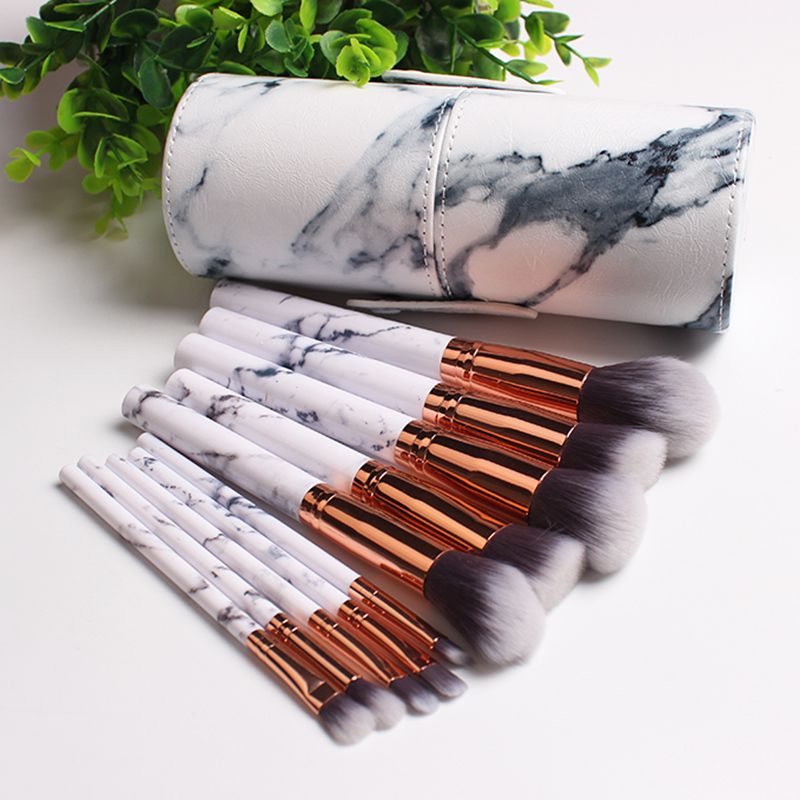 10pcs/set Marble Makeup Brush Set Cosmetics Power Eye Shadow Foundation Blush Blending Beauty Essentials Makeup Tool Kits