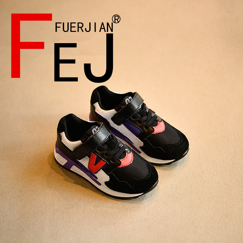 Kids Shoes 2017 FUERJIAN Spring New Leather Fashion Girls Boys Running Shoes Sneakers Casual Breathable  Children Travel Shoes 2016 new arrival fashion kids shoes pu leather children shoes for boys