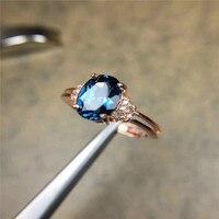 Tự nhiên Gemstone Blue Topaz S925 Sterling Silver Vàng Gold Ring Kim Cương Phụ Nữ Đồ Trang Sức M