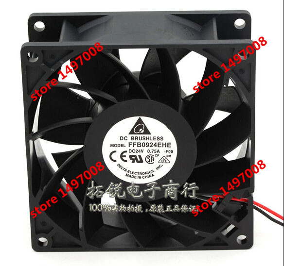 Free Shipping For DELTA  FFB0924EHE, -F00  DC 24V 0.75A, 2-wire 90mm 90x90x38mm Server Square cooling fan free shipping 24v dc mig welding wire feeder motor single drive 1pcs