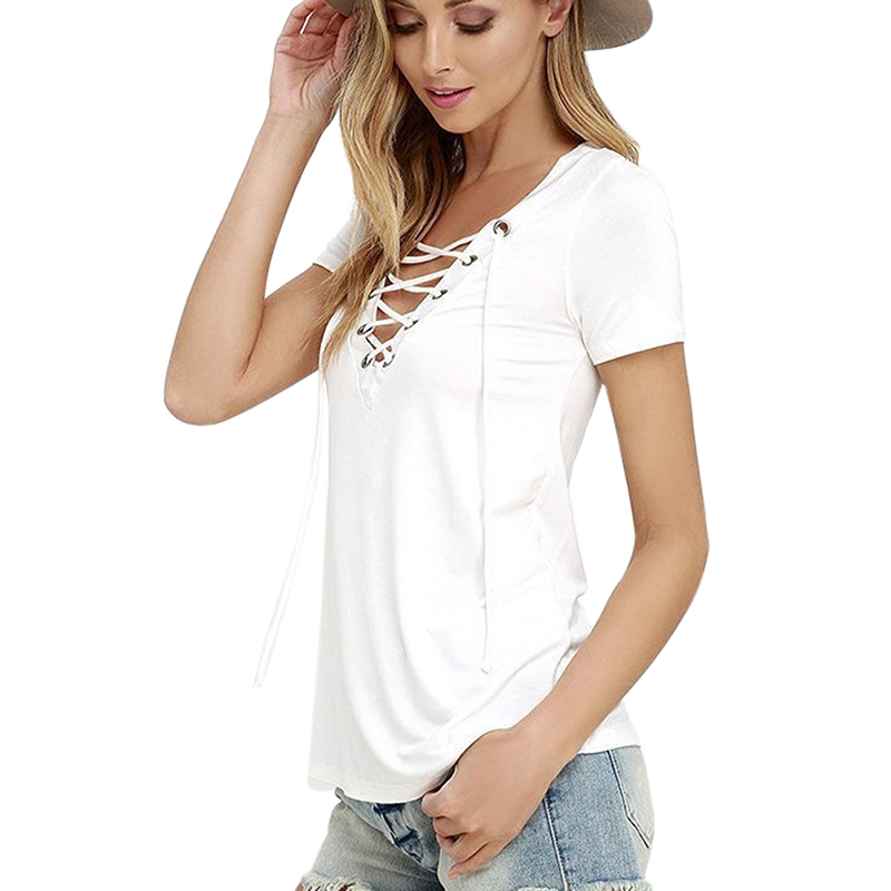 b0192ae616036 2018 Hot Summer Women T shirt Short Sleeve Deep V Neck Sexy Bandage Shirts  Women Lace Up Tops Tees T Shirt -in T-Shirts from Women s Clothing on ...