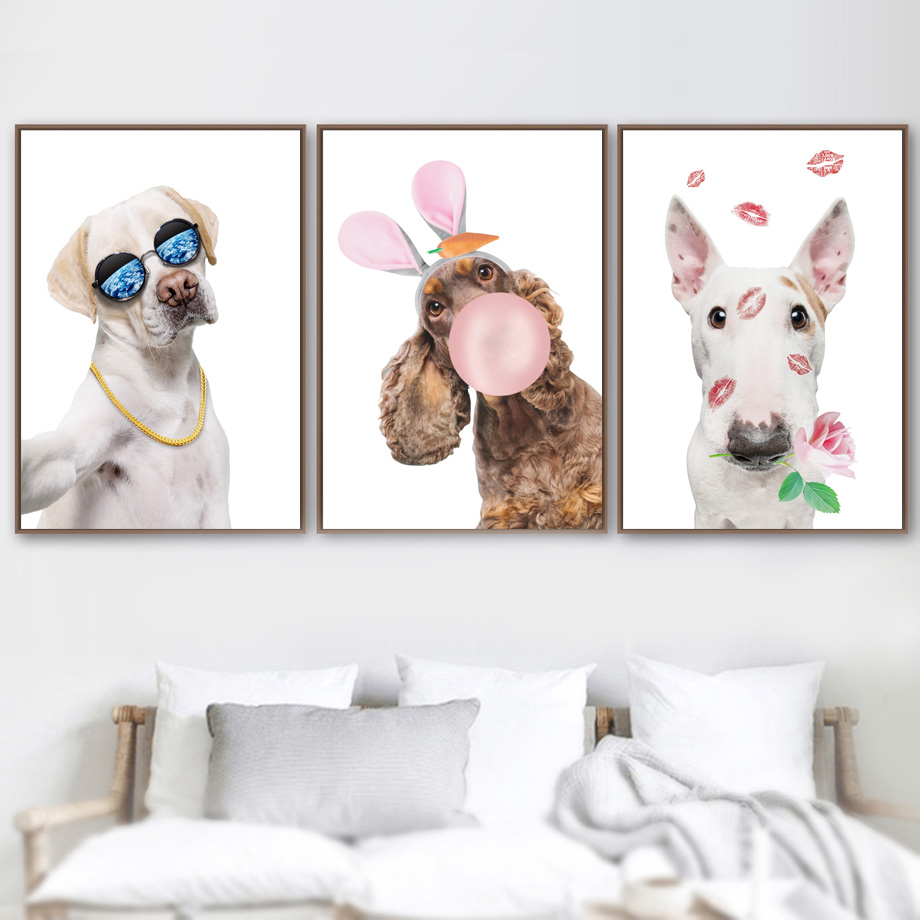 Girls Room Decor Cartoon Funny Dog Balloon Wall Art Picture Nordic Posters And Prints Animals Canvas Painting For Living Room image