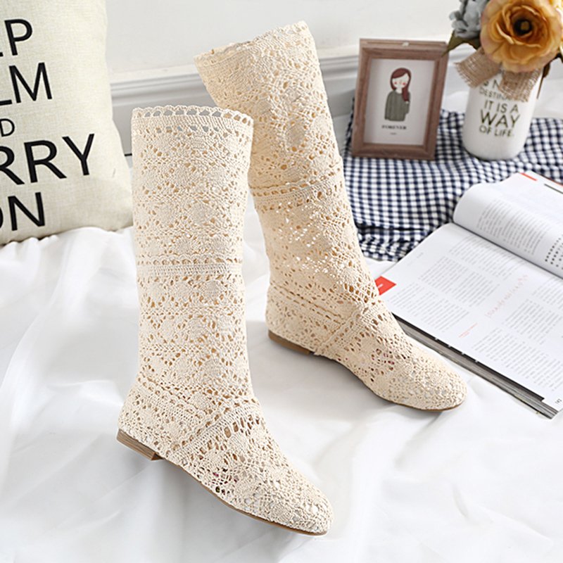 DreamShining New  Women Boots Knitted Hollow High Boots Fashion Womans Cool Botas Mesh Breathable Shoes Womens Single Shoe 2017 new european and american romantic pop black magazine cool shoes sexy fashion hollow women boots fashion summer boots