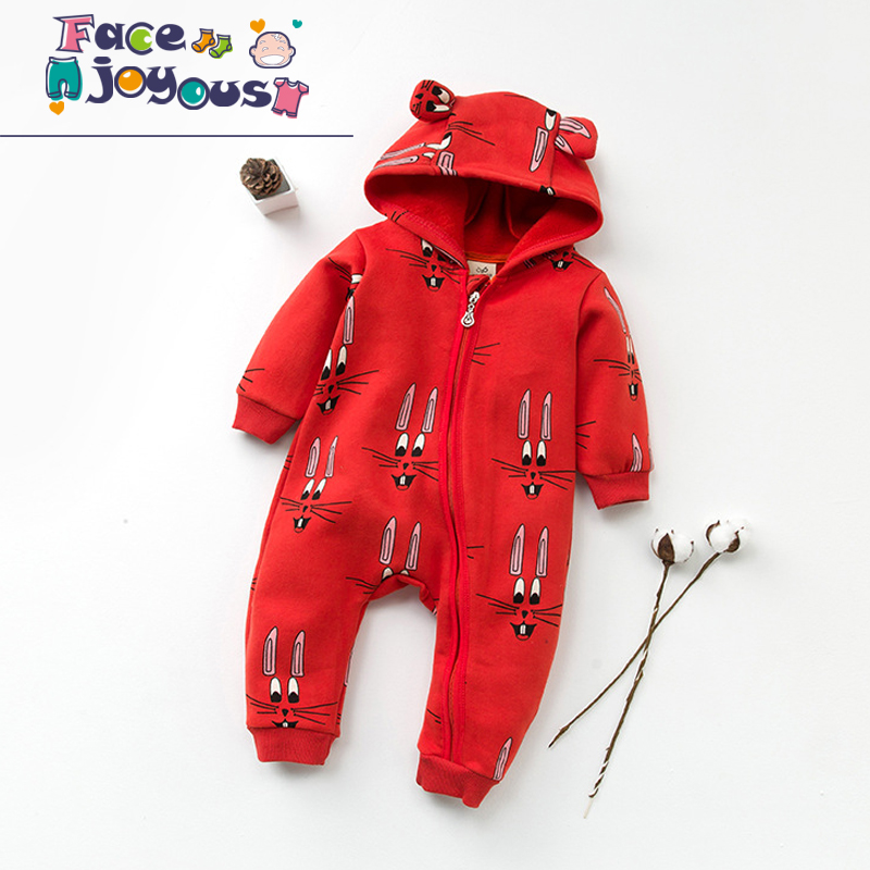 Baby Rompers Hugolovestiki Newborn Boys Romper Infant Girls Clothes Red Bunny Long Sleeve Hooded Zipper Jumpsuit Winter Clothing newborn infant baby boy girl clothing cute hooded clothes romper long sleeve striped jumpsuit baby boys outfit