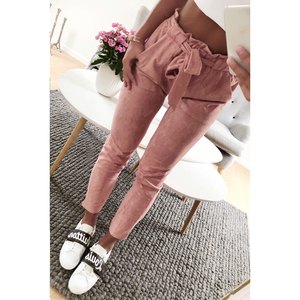 Image 2 - סגנון חדש 2019 אופנה נשים זמש מכנסיים גבירותיי מכנסי עור נשי מכנסיים מזדמנים אדום יין מכנסי עיפרון גבוה מותן מכנסיים