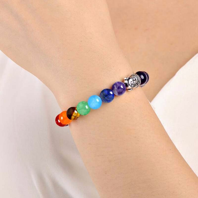 8 Colors 2018 7 Chakra Healing Balance Buddha Beads Bracelets Bangles Charm Natural Stone Bracelet Yoga Jewelry Men Women Gift 2
