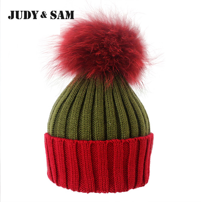 5 Colors Woolen Knitted Winter Hat New Promotion Beanie With Genuine Big Size Pompoms For Lady Pom Pom Caps  Apparel Accessories