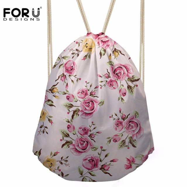 FORUDESIGNS Drawstring Bag Women's Flower Pattern Backpack Females Interesting Drawstring Bag Pattern