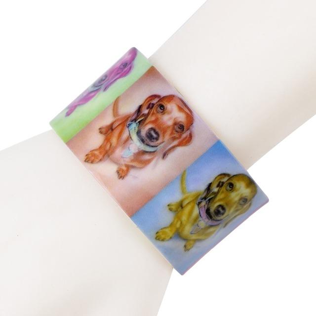 Creative Colorful Wide Dog Printed Bracelet