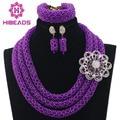 Fabuloso Roxo Do Casamento Nigeriano Beads Africanos Set Jóias Declaração de Cristal Conjunto de Jóias Contas Roxo Definir Frete Grátis WD296