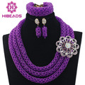 Fabulous Purple Nigerian Wedding African Beads Jewelry Set Statement Crystal Jewelry Set Purple Beads Set Free Shipping WD296