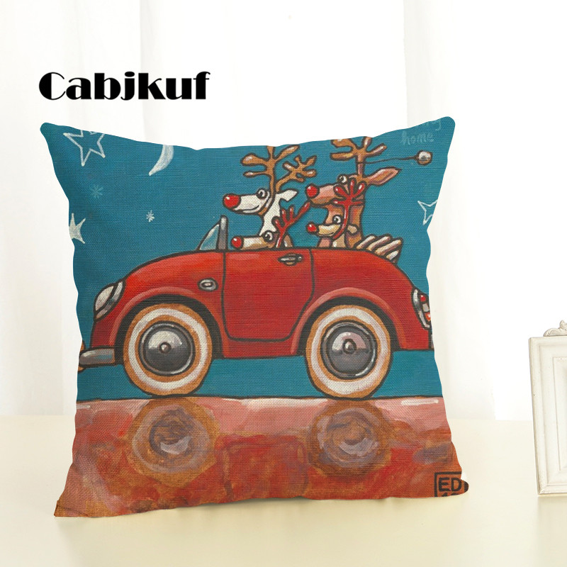 Christmas Cartoon Creative Cushion Cute Christmas Car Dog Letter Printing Happy holiday Throw Pillow Pillowcase Sofa in Cushion Cover from Home Garden
