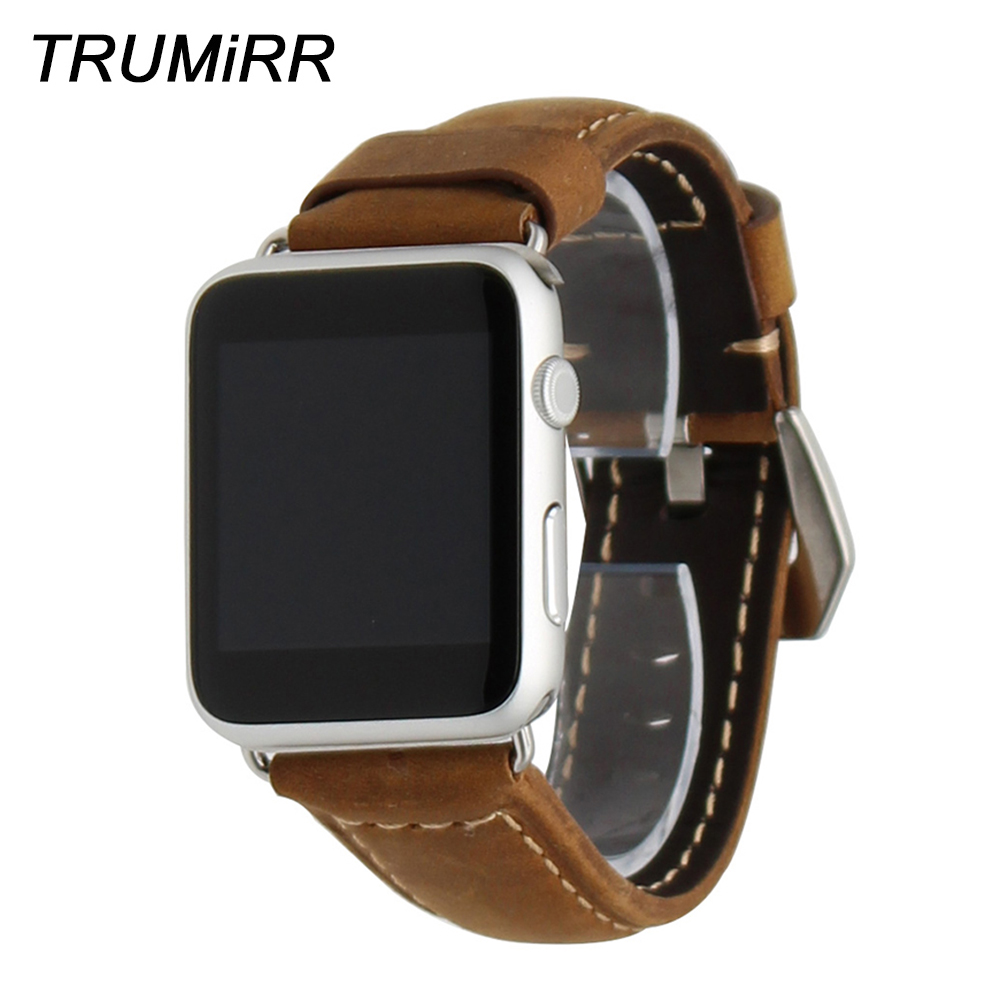 Crazy Horse Genuine Leather Watchband for iWatch Apple Watch 38mm 42mm Strap Stainless Steel <font><b>PAM</b></font> Buckle Band Wrist Belt <font><b>Bracelet</b></font> image