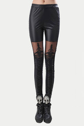 Black Leggins Punk Gothic Fashion Women Leggings Sexy PU Leather Stitching Embroidery Hollow Lace Legging For Women Leggins