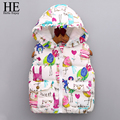 HE Hello Enjoy girls outerwear 2016 winter kids clothes Graffiti girls vest jacket Children Outerwear Hooded Baby Girls Coat