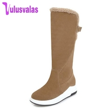 Купить с кэшбэком Vulusvalas 4 Color Women Mid Calf Boots New Fashion Buckle Warm Plush Shoes Women Winter Fur Inside Heels Snow Boots Size 34-43