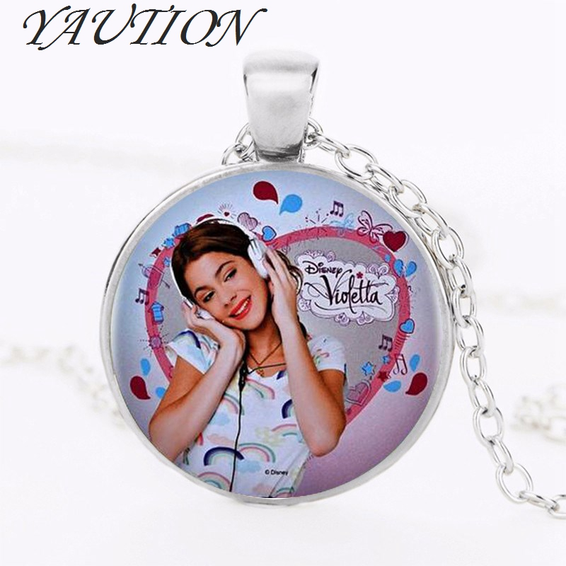 YAUTION 2018 1pcs/lot Violetta Necklace & Pendant Cabochon Vintage Silver Chain Long Statement Necklaces Fine Jewelry