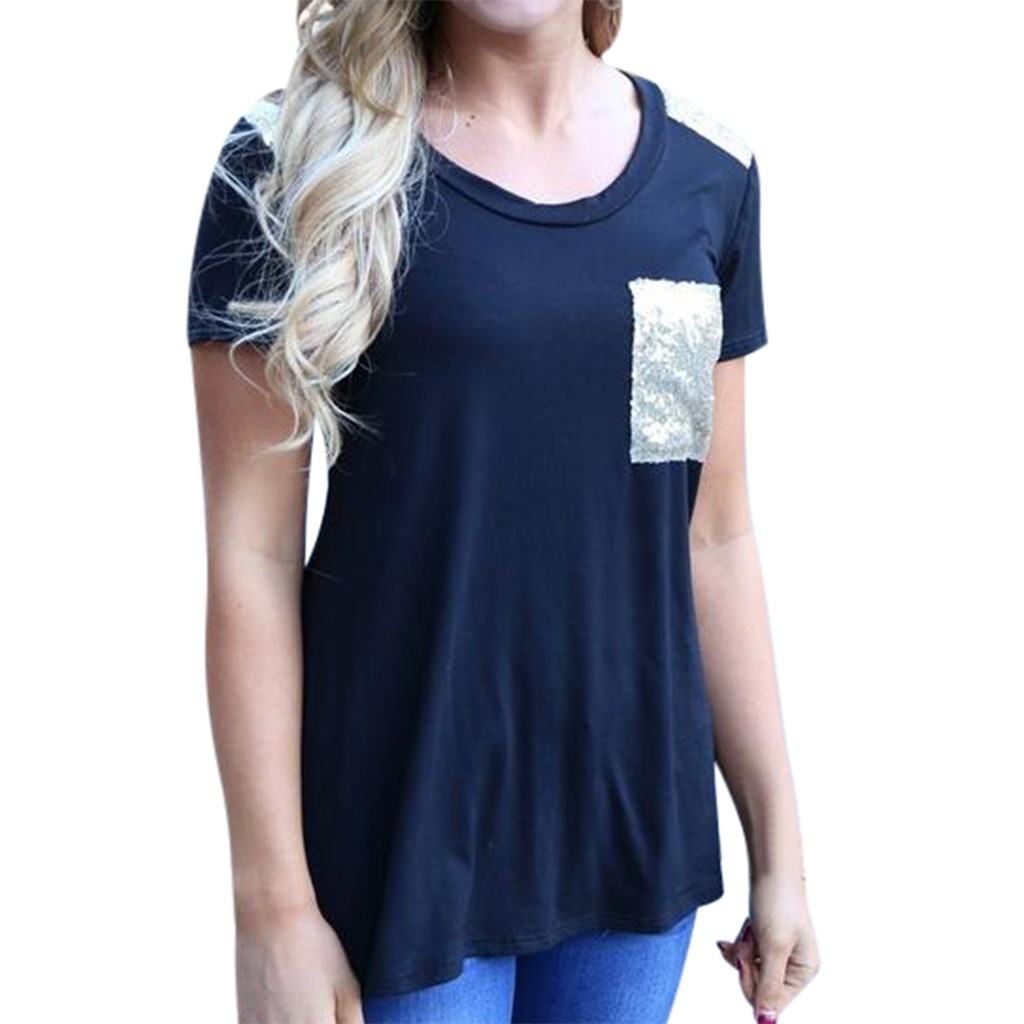 2019 New Fashion Casual T-Shirts Women Short O-Neck Sleeve Tops & Tees T-Shirt Casual Tops Loose Patchwork Tops
