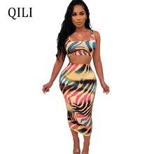 QILI Women Two Piece Set Tank Dress Paisley Print Sleeveless Casual Mid-Calf Bodycon Dresses Party Club 2019 Summer