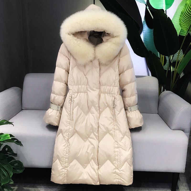 2018 New Real Large Raccoon Fur Detachable Collar   Down     Coats   Women Parkas Solid Slim A-line Long Female 90% White Duck   Down     Coat
