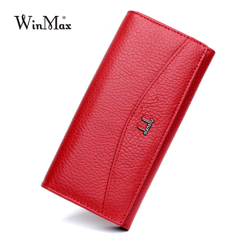 Women Luxury Brand 100% Genuine Leather Wallet for Women High Quality Long Clutch Solid Coin Purse Female high quality women wallet 100