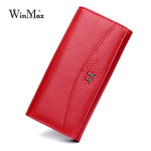 Women Luxury Brand 100% Genuine Leather Wallet for Women High Quality Long Clutch Solid Coin Purse Female