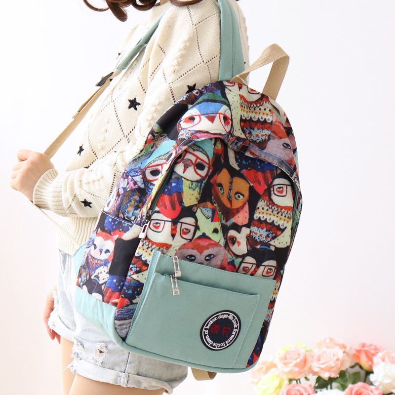 Japan Korean Style Canvas Women Bag Graffiti Backpack School Bags for  Teenagers Ladies Girl Back Pack Schoolbag Bagpack Mochila-in Backpacks from  Luggage ... 4e4f954ae6d86
