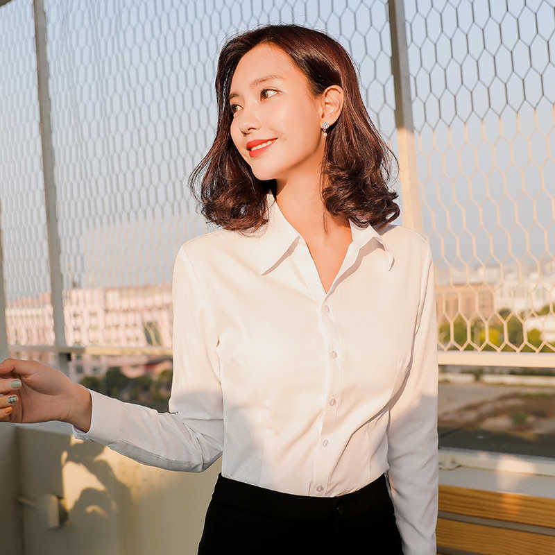 女性ブラウス長袖シャツ無地オフィス社会シャツホワイトカラースリムフィットフォーマルブラウストップスプラスサイズ Blusas