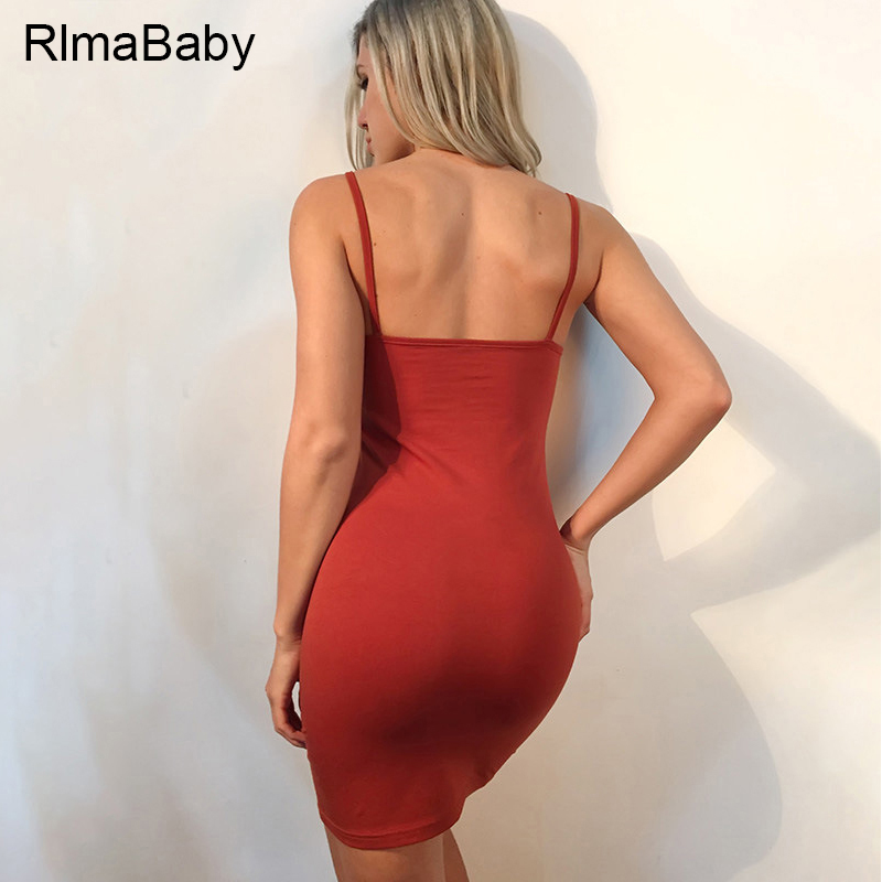 RlmaBaby 2017 Summer Sexy Spaghetti Strap Bodycon Mini Dress Slim  Sleeveless Backless Women Vestidos Casual Party Short Dress-in Dresses from  Women s ... bbc23627f982