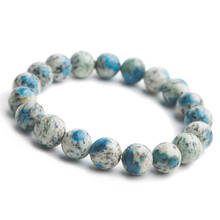 10mm Natural K2 Blue Volcanic Gemstone Stretch Crystal Round Beads Bracelets AAAA Women Femme