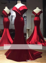Real Photos Simple Red Satin Mermaid Prom Dresses Off-the-Shoulder Evening Party Gown Zipper Back Custom Made