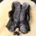 Женская мода Искусственного Меха Жилет Femininos Де Пеле Зима Осень пальто Femme Плюс Размер Куртка Жилет Искусственная Кожа Норки Жилет W3