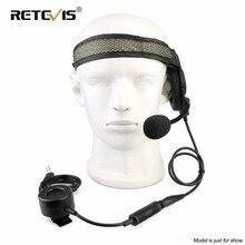 RETEVIS EH060K タクティカルヘッドセット 2Pin TK プラグ軍事 Wakie トランシーバーケンウッド Baofeng 用ヘッドセットイヤホン UV5R/UV82/ RT81