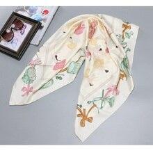 Meninas do balé imprimir 100% sarja lenço de seda hijab foulard senhoras grandes quadrados de seda xale cabeça cachecóis 88*88cm
