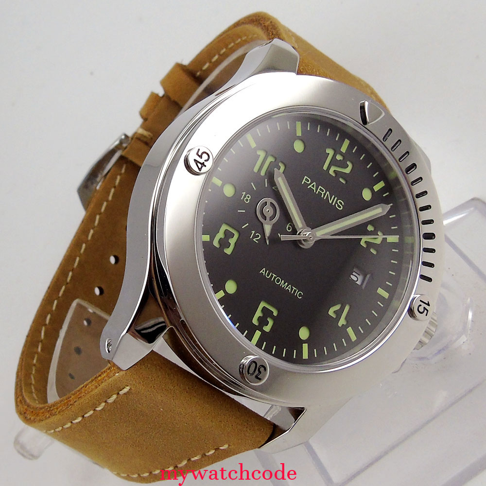 Luxury Brand Men s Watch leather Parnis 43mm black dial super luminous date 8215 Automatic Mechanical