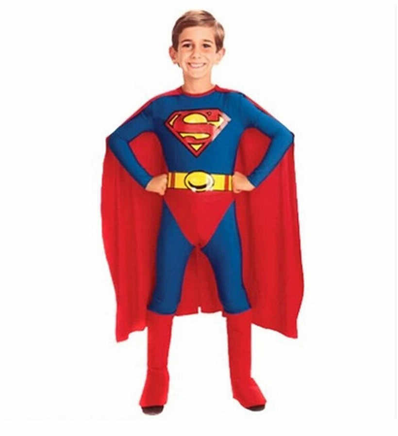 2019 Boys Superman Cosplay Costumes Classic Superhero Costume with Cap Kids  Halloween Disguise Carnival Party Outfit 3Pcs Set