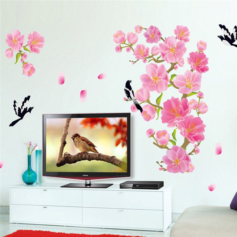 ZUCZUG Elegant Flower Wall Stickers Graceful Peach Blossom Birds Wall Stickers Furnishings Romantic Living Room Decoration