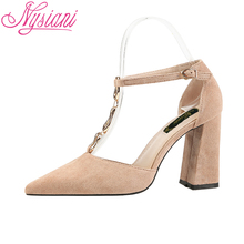 2019 Summer T-strap Sexy High Heels Shoes Sandals Metal Decoration Buckle Strap Pointed Toe Thick Dress