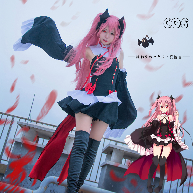 S-3XL Anime Seraph of the End Krul Tepes Cosplay Evil Vampire Gothic Sexy Dress For Women Girl Halloween Party Rave
