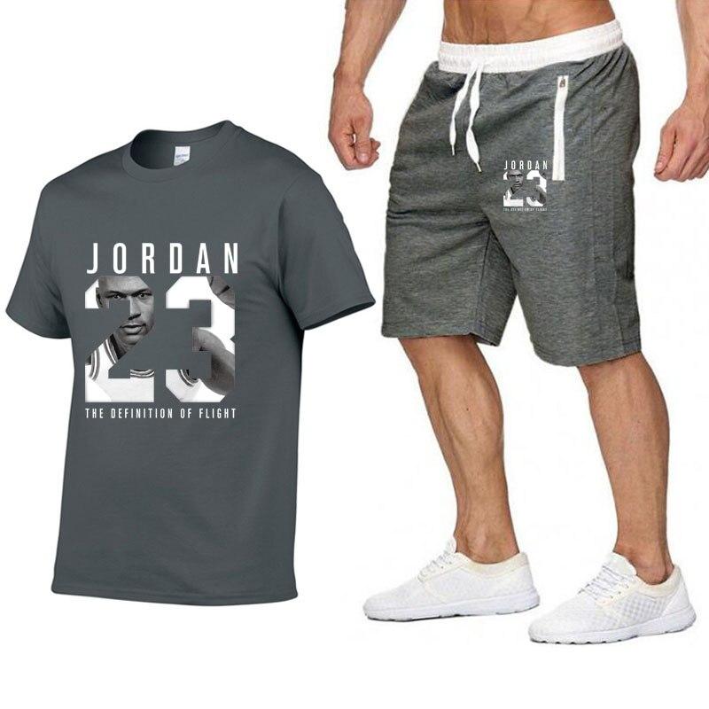 Fashion JORDAN 23 Casual Man Tshirt Set Brand Fitness Men Shorts Suits Two Pieces   T     Shirt   Sweatpants Mannen Plus Size XXL